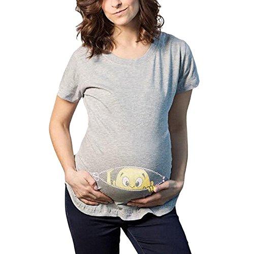 Lonshell Mutterschaft T-Shirt Damen Sommer Kurzarm Umstandsmode T-Shirts Cute Mutterschaft Kleidung Lustige Witzig Spähen Baby Gedruckt Baumwolle Schwangerschaft Tops (Grau, L)