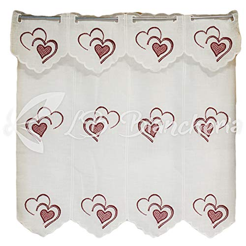 R.p. coppia tendine tende ricamate cuori heart con mantovana- 100% cotone made in italy - cm 45x150 - bordeaux