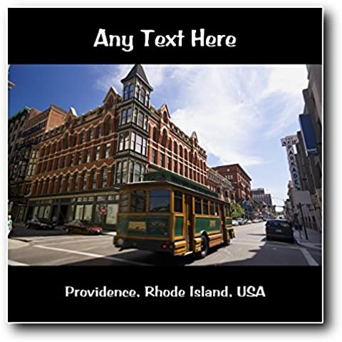 De Estados Unidos Providence America, Rhode Island, diseño cuadrado con bordes suaves de los Estados Unidos pinceles para pintura acrílica con texto en inglés