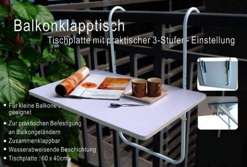 Balkontisch klappbar 60x40 cm - Balkonhängetisch in weiß - neigbar, wetterfest und bis 20 Kg belastbar