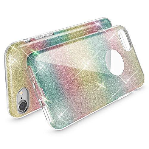 iPhone 8 / 7 Hülle Handyhülle von NICA, Glitzer Ultra-Slim Silikon-Case Back-Cover Schutzhülle, Glitter Sparkle Handy-Tasche Bumper, Dünnes Bling Strass Phone Etui für Apple i-Phone 7 / 8 - Rot Regenbogen