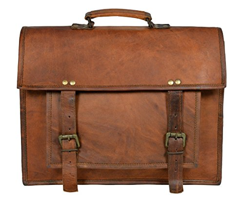 Adimani Handmade Vintage Style Leather Travel Messenger Bag For Men and Women, Notebook Macbook Air Mobile and Other Essential Stuff Size 15×11 Inches