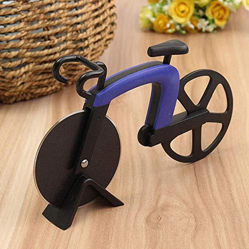 Wuudi Pizzaschneider aus Edelstahl, kreativer Fahrrad, Pizzaschneider, niedliches Küchenwerkzeug blau