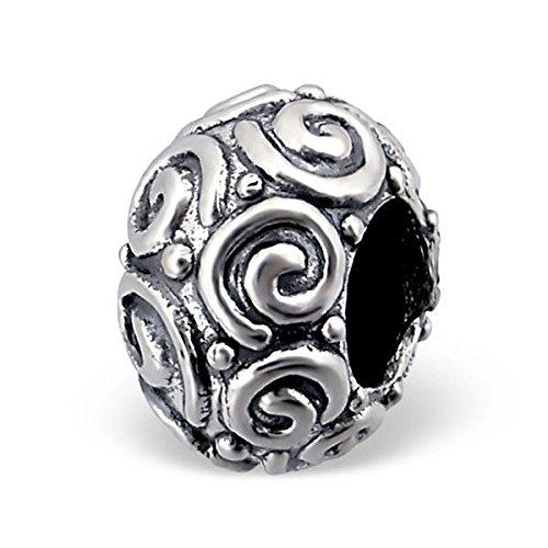 Silvadore-Ciondolo in argento Swirl Whirl Twirl Curl Pois Design-Anello 925Sterling Ciondolo scorrevole in 3d 643, adatto per bracciale Pandora europeo, in confezione regalo - Sterling Silver Dot Design
