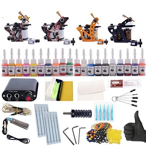 WENHU Professionelle Tattoo Kit Tattoo Maschine 4 stücke Liner Shader Tattoo Gun 20 Farbe Unsterblichen Tinten Netzteil Set Komplette Grip Tip Kit -