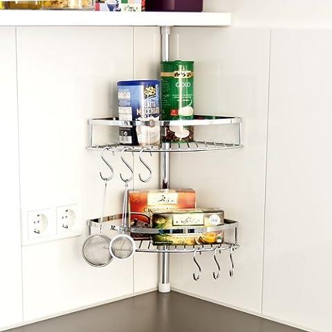 Bremermann–Cajón telescópico para esquina de cocina de almacenamiento con 2cestas y 6ganchos