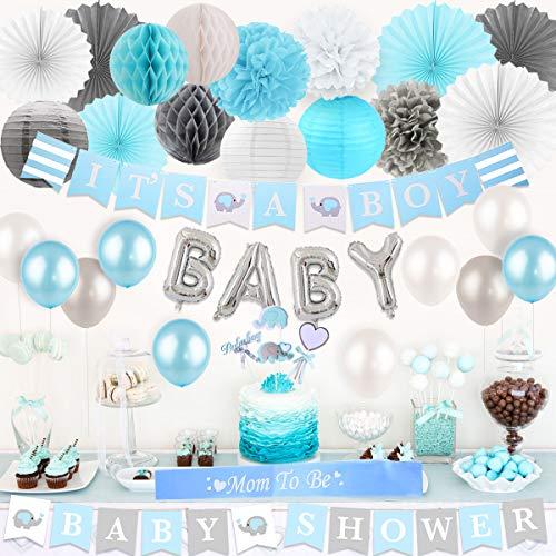 JOYMEMO Baby Dusche Dekorationen für Jungen Es ist EIN Junge Banner, Elefantenkuchen Topper, Seidenpapier Pompons Fans und Laternen, OH Baby Folie Banner