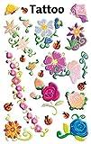 Avery Zweckform 56691 Kinder Tattoos Blumen (temporäre Transferfolie, dermatologisch getestet) 20 Aufkleber