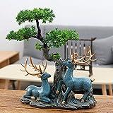 XXYDSDM Statue,Creative Lucky Elk Pino Sculture Astratte Moderna Unica del Figurine Artwork Desktop Stile Cinese Dono del Collezionismo per Soggiorno Camera da Letto Arredamento di Casa