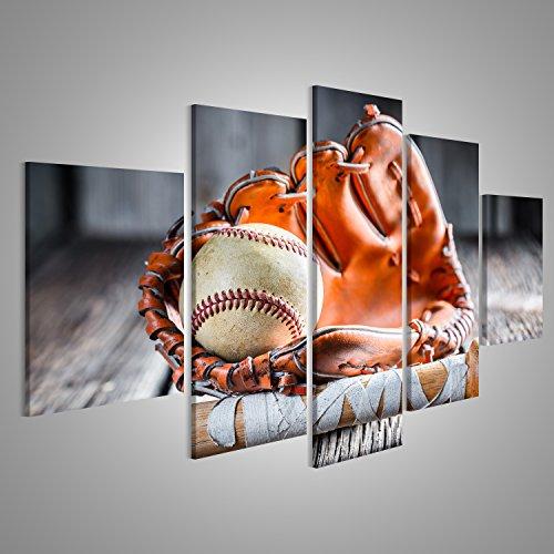 Bild Bilder auf Leinwand Baseball XXL 5-teilig ! Direkt vom Herstelller ! Bilder ! Wandbild Poster Leinwandbilder ! DOJ (Baseball Leinwand)