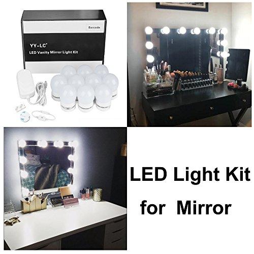 YY-LC LC178 Hollywood Spiegel Beleuchtung mit Dimmer Schalter 12V-Netzteil ,Verstecken Kann und Die Drähte Ersetzen,Schminktisch Leuchte Spiegellicht Set für Frisiertisch | Kosmetiktisch | DIY,10 Leuchten, ohne - Gesichts-licht-schalter