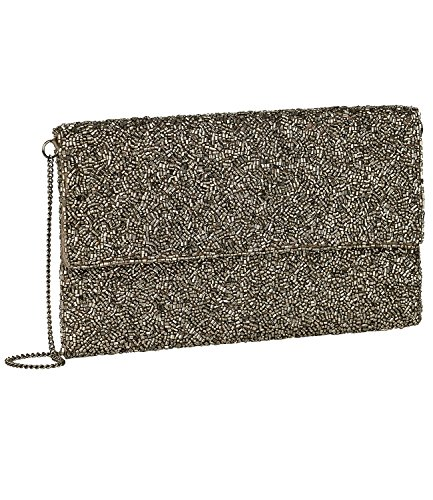 SIX SALE - Damen Abend Handtasche, Clutch, abnehmbare Handschlaufe, glitzer Perlen, silber (427-607) (Blume Perlen Satin Clutch)