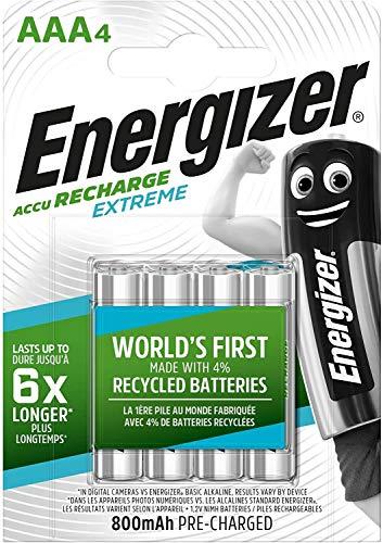 Oferta de Energizer HR03 - Pack de 4 pilas recargables AAA, color negro