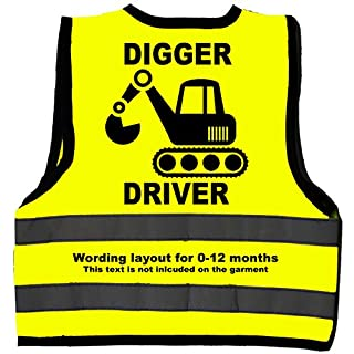 Digger Driver Baby/Children/Kids Hi Vis Safety Jacket/Vest Size 0-12 Months Yellow Optional Personalised On Front
