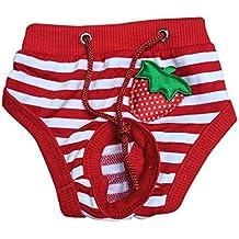 Ropa interior de perro mascotas - SODIAL(R) Ropa interior panal pantalones cortos lindo sanitario de perro mascotas femenina Blanco rojo M