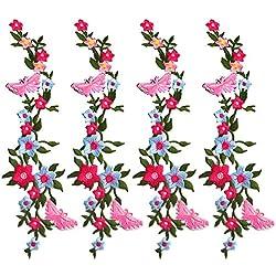Toppe per Vestiti Bambini 4 Pcs farfalle fiore Toppa Ricamata Cartone Animato Fai Da Te Patch Termoadesiva Toppe da Cucire Applicazioni per Vestiti Giubbotti Pantaloni Jeans Zaini Maglietta Borse