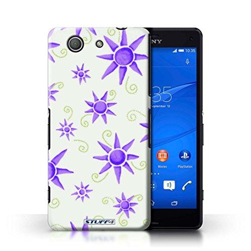 Kobalt® Imprimé Etui / Coque pour Sony Xperia Z3 Compact / Rose/Blanc conception / Série Motif Soleil Violet/Blanc