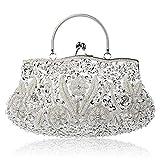 Damen Clutch Abendtasche Vintage Handtasche Umhängetasche Handarbeit Perlen bestickt Geldbörse Hochzeit Kupplung