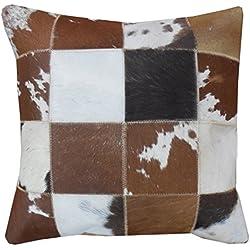 Sit-Möbel 1033-30 cojín This y That, 45 x 7 cm, con cremallera de piel de vaca, parte trasera 100% algodón, marrón/blanco