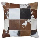 Sit Möbel 1033-30 Kissen This und That, 45 x 45 x 7 cm, Kuhfell mit Reißverschluß, Rückseite 100% Baumwolle, braun/weiß