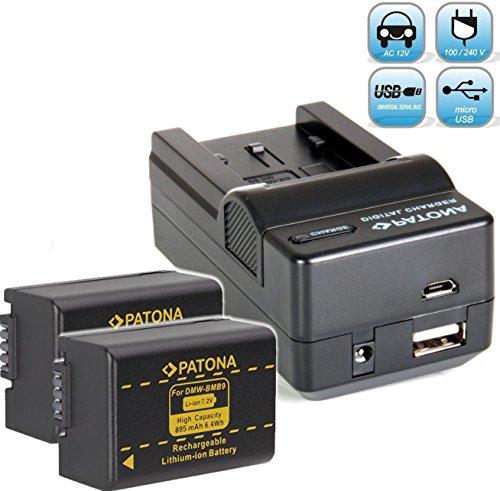PATONA Ladegerät 4 in 1 kompatibel mit Akku Panasonic DMW BMB9 E mit 2x Akku Ersatzakku zu Panasonic Lumix DC FZ82 DMC FZ72 FZ62 FZ45 FZ48 FZ100 FZ150 Leica V-LUX 3 usw. (Akku Für Panasonic Lumix)