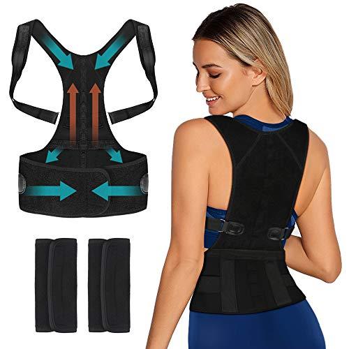 Sylanda Haltungstrainer, Geradehalter zur Haltungskorrektur Schulter Rücken Rückenstütze Haltungsbandage mit Verstellbare Größe für Damen und Herren, Gepolsterte Gurte