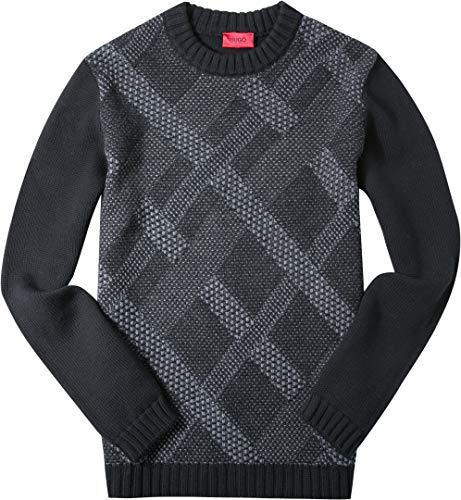 Hugo Herren Pullover Sweater Raute und Karo, Größe: XL, Farbe: Schwarz