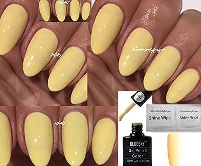Bluesky Primrose Yellow 80566 Lemon Pastel Nail Gel Polish UV LED Soak Off 10ml PLUS 2 Luvlinail Shine Wipes