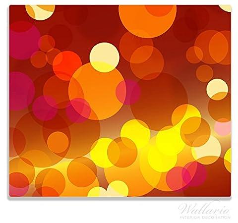 Wallario Herdabdeckplatte / Spitzschutz aus Glas, 1-teilig, 60x52cm, für Ceran- und Induktionsherde, Rote, gelbe und orange Kreise - harmonisches Muster