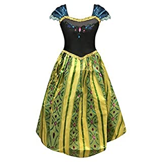 Live It Style It Princess Fancy Dress Elsa Costume Girls Snow Anna Queen Party Outfit (7-8 Years, Anna Green Dress)
