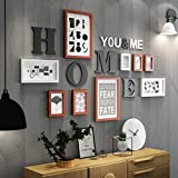 XUEYAN Rahmen, kreativer Fotorahmen, Wohnzimmer, Moderne Schwarzweiss-Foto-Wand, einfache Kunst-Wand-Foto-Rahmen-Kombination (Farbe : B)
