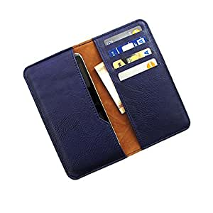 i-KitPit : PU Leather Wallet Flip Pouch Case Cover For Oppo Joy (NAVY BLUE)