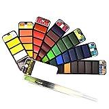 FineInno 42 Colori Kit di Pittura Ad Acquerello Kit Mini Pigmento+Pennello 1pz