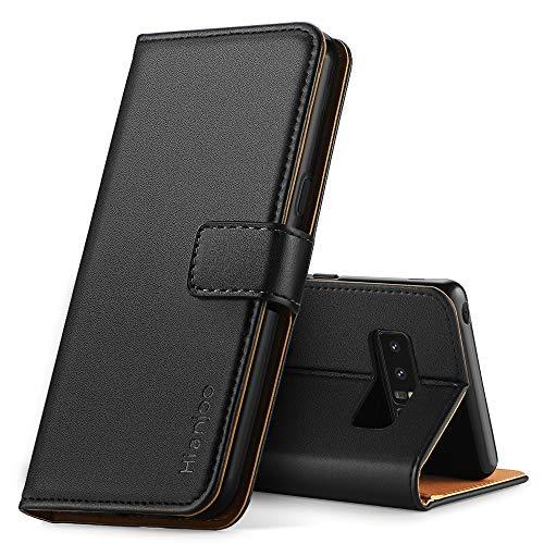 Hianjoo für Samsung Galaxy Note 8 Hülle, Handyhülle Tasche Premium Leder Flip Wallet Case für Samsung Galaxy Note 8 [Standfunktion] [Kartenfächern] [Magnetic Closure Snap], Schwarz