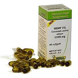 Hanföl 1000mg, reines kaltgepresstes Öl, 40 Weichkapseln, optimales Verhältnis Omega-6 / Omega-3: 3/1