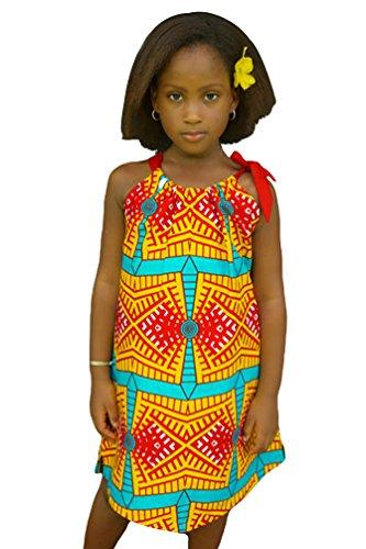 CHENGYANG African Baby Girls Traditional Print Dress Kids Dashiki Style Dresses (Yellow, 110)
