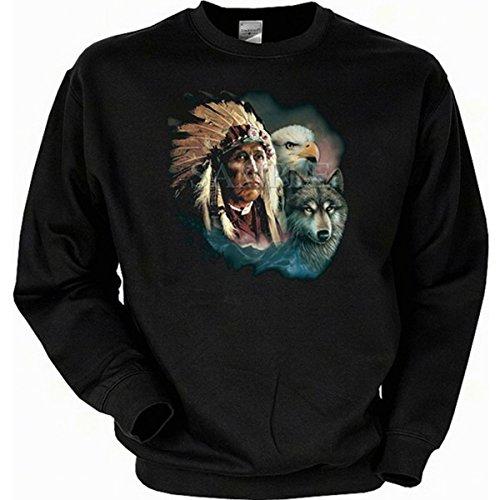 Indianistik US A Motiv Indianer mit Wolf und Adler Sweatshirt Gr L in schwarz