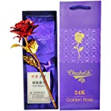 Chocholik 24K Red Gold Rose 10 INCHES With Gift Box - Best Gift For Loves Ones, Valentine's Day, Mother's Day, Anniversary, Birthday