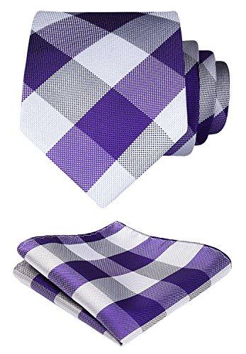 Hisdern Extra Long Check Krawatte Taschentuch Herren Krawatte & Einstecktuch Set Lila & Grau -