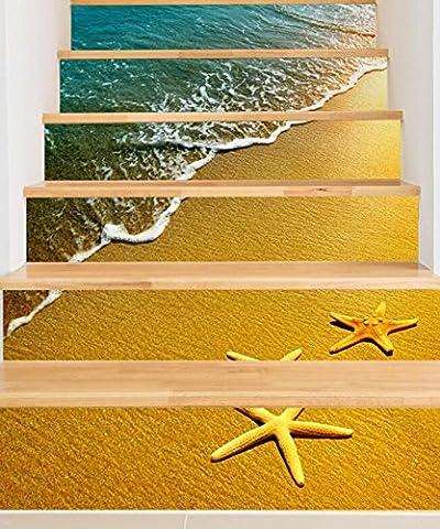 HJMTRY Autocollants Autocollants Beach Imperméable Corridor Escalier Stickers muraux Décoration 18 * 100cm * 6pcs