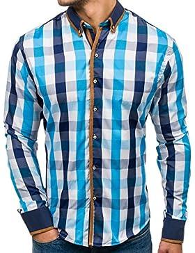 BOLF Camicia – A Manica Lunga – A Quadri – Button Down – Slim Fit – Casual – da Uomo 2B2