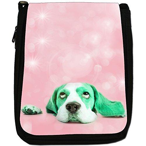 Stelle nel Beagles occhi Medium Nero Borsa In Tela, taglia M Green Beagle Looking At Stars