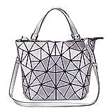 FZChenrry Handtasche Damen Geometrische Tasche Schultertaschen Umhängetaschen Einzigartige Geldbörsen Scherbe Gitter Design Taschen Silber