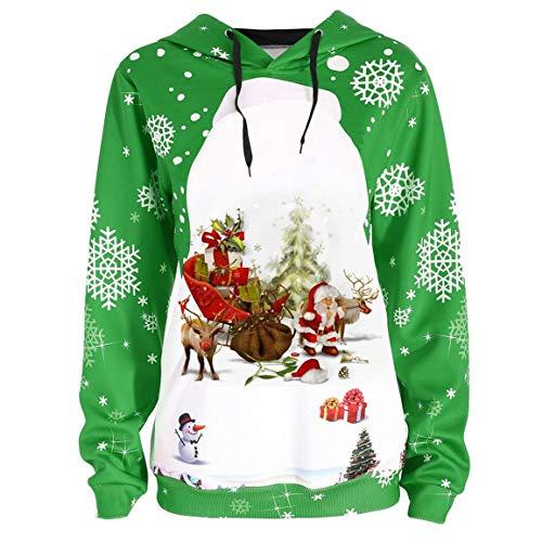 Damen Herbst Winter Hoodies Frauen Volle Ärmeln Pullover Tops Frohe Weihnachten Weihnachtsmann Schneeflocke Druck Mit Kapuze Sweatshirt Bluse Moonuy -