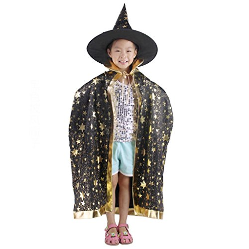 Fünf Halloween Umhang Set Halloween Kind Kostüm Hexe Umhang Magic Master Dress Up (Farbe : Schwarz)