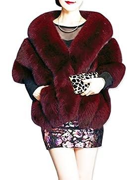 KAXIDY Mujer Ropa de Abrigo Piel Sintética Ponchos Capas Ropa de Abrigo Chaquetas