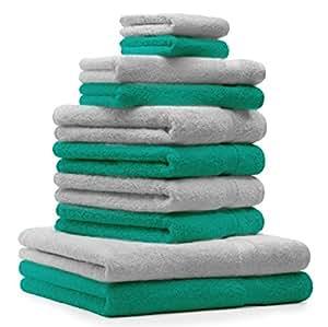 10 tlg. Handtuch Set Premium Farbe Smaragd Grün & Silber Grau 100% Baumwolle 2 Duschtücher 4 Handtücher 2 Gästetücher 2 Waschhandschuhe
