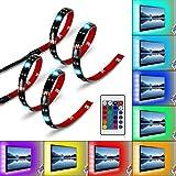 Albrillo LED TV Hintergrundbeleuchtung 2×50cm, RGB Streifen mit Fernbedienung und USB Powered für 24 bis 60 Zoll Fernseher