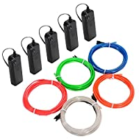 Litake EL Wire, Neon Light Battery Powered Electroluminescent Wire Glowing Strobing Decorative Light for Xmas Party Pub