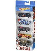 Hot Wheels Toy Juego de 5 coches de juguete del Capitán América de Marvel y de Iron Man, Hawkeye, Black Widow y Black Panther